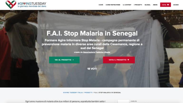 Vota il progetto F.A.I. Stop Malaria, contribuisci e diffondi su #GivingTuesday