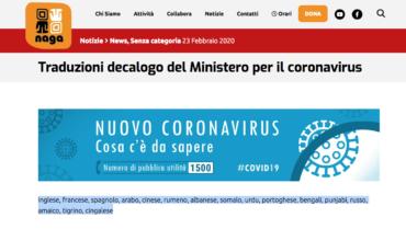 Traduzioni decalogo del Ministero per il coronavirus